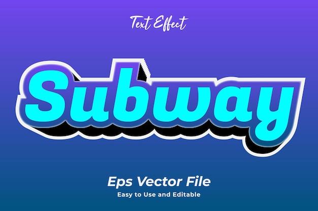 Texteffekt u-bahn einfach zu bedienen und zu bearbeiten hochwertiger vektor