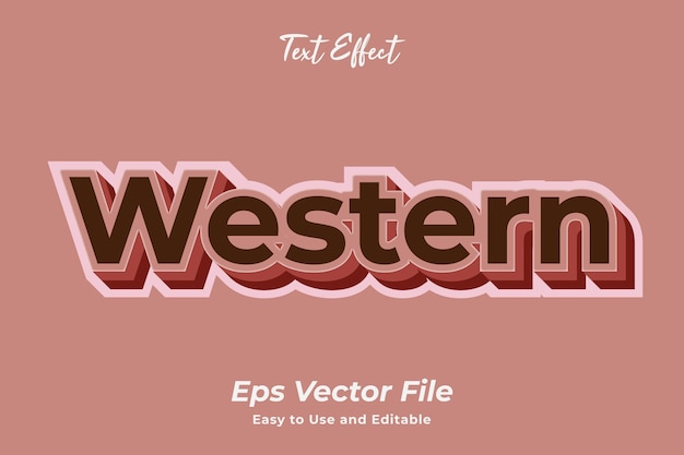 Texteffekt western einfach zu bedienen und zu bearbeiten hochwertiger vektor
