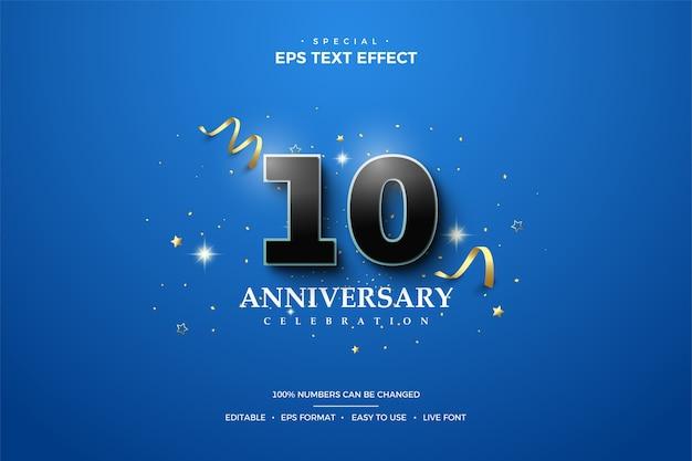 Texteffekt zum 10-jährigen jubiläum mit schwarzen 3d-zahlen und goldenem band