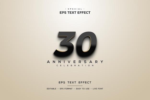 Texteffekt zum 30-jährigen jubiläum mit glänzenden zahlen