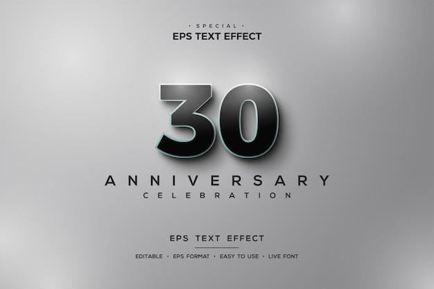 Texteffekt zum 30-jährigen jubiläum mit schwarzen 3d-zahlen auf silbernem hintergrund