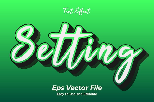 Texteffekteinstellung einfach zu bedienen und bearbeitbar premium-vektor