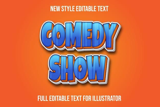 Texteffektkomödie zeigen farbblau und orange farbverlauf