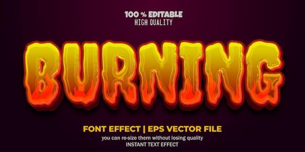 Texteffektstil für bearbeitbare schriftarten brennen