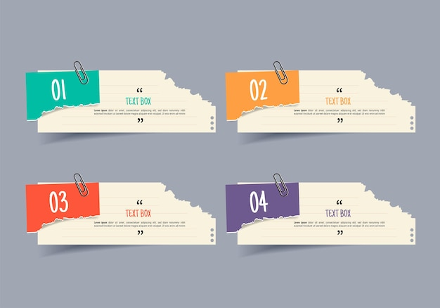 Textfeld-design mit notizpapier-infografik