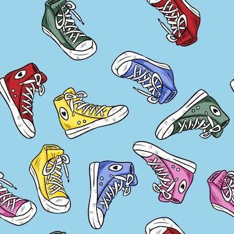 Textile hipster-sneakers mit gummizapfen. buntes nahtloses muster