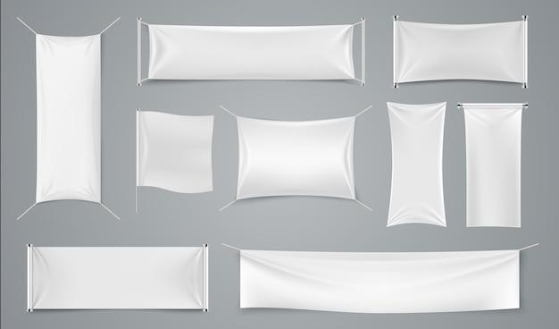 Textile werbebanner. leere weiße stoffwerbung, realistisches isoliertes stoffanzeigenblatt.