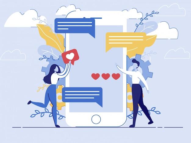 Texting herauf freund durch boten in smartphone