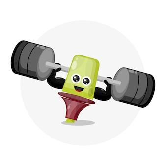Textmarker fitness maskottchen charakter logo