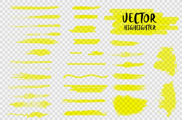 Textmarker unterstreichen striche. markierungsfarbstrich, pinselstifthand unterstrichen gezeichnet. markieren sie gelbe striche, linien isoliert auf einem transparenten hintergrund.