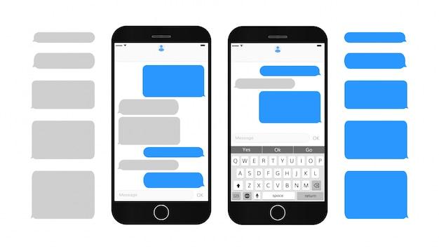 Textmeldungsfelder auf dem smartphone-bildschirm leere textblasen setzen dialog