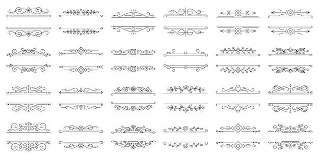 Textrahmenverzierungsweinlesegrenzkunst elegant für titellehrbuchschwarzlinie ikonensatz.