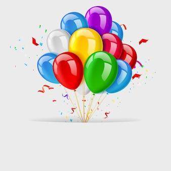 Textraum mit bündel fliegenden ballonen