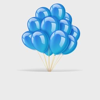Textraum mit bündel fliegenden blauen ballonen