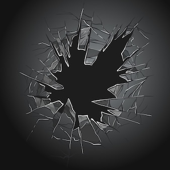 Textur eines realistischen zerstörungslochs in transparentem beschädigtem glas