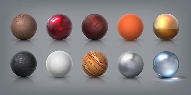 Textur-kugeln. realistische 3d-kugeln aus glas-metall-kunststoff-gummimaterialien, dekorationselementen und vorlagen zum modellieren. vektorillustrationszusammenfassung entwirft kugelformen