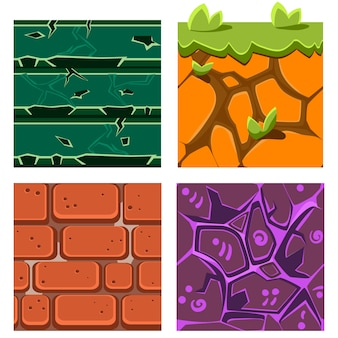 Texturen für platformers set von edelsteinen, ziegeln und boden