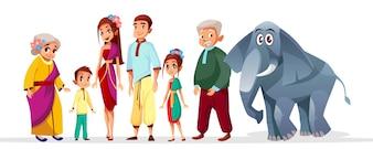 Thai Familie asiatische Zeichen festgelegt. Glückliche Thailand siam ältere Frau, Mann nahe Elefanten