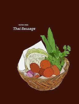 Thai-wurst-stil serviert in einem korb mit beilagen.