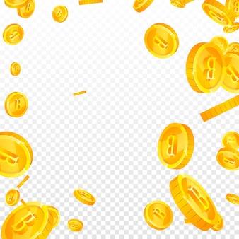 Thailändische baht-münzen fallen. fabelhafte verstreute thb-münzen. thailand-geld. zartes jackpot-, reichtums- oder erfolgskonzept. vektor-illustration.