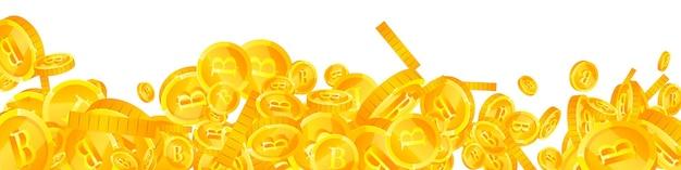 Thailändische baht-münzen fallen. fesselnde verstreute thb-münzen. thailand-geld. tolles jackpot-, reichtums- oder erfolgskonzept. vektor-illustration.