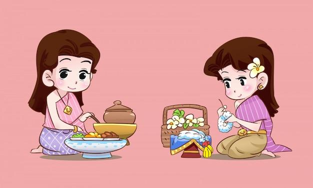 Thailändische dame und hochzeit thailändischer cartoon