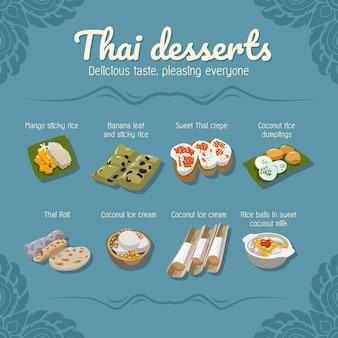 Thailändische desserts lebensmittelvektor-set-sammlung