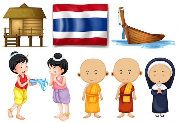 Thailändische flagge und andere kulturelle objekte