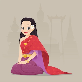 Thailändische frau der illustration im trachtenkleid, traditionelle südostasiatische tracht,