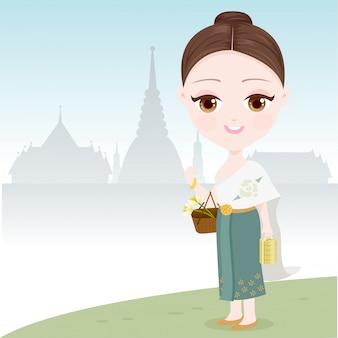 Thailändische frauen gehen zum tempel