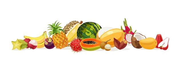 Thailändische früchte obst aus thailand bananen kokosnuss melone wassermelone karambola papaya rose apfel durian lichee mango mangostan drachenfrüchte rambutan ananas