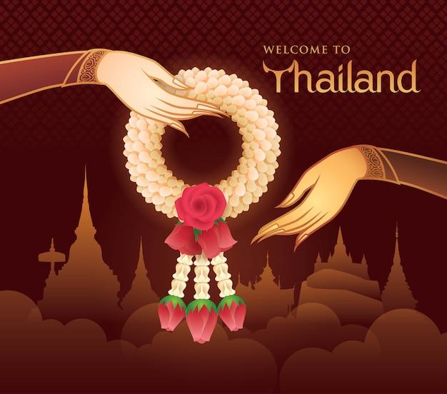 Thailändische jasmin-und rosen-girlande, illustration der thailändischen kunst, goldhand, die garland vector hält