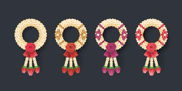 Thailändische jasmin-und rosen-girlande, illustration der thailändischen kunst