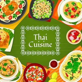 Thailändische küche vektorpilzsuppe tom klong hed ruam, hühnersuppe tom kha gai und gebratener reis mit garnelen khao phad kung. fisch-kokos-curry, nudeln mit schweinefleisch-satay und erdnusssauce thailändisches essen
