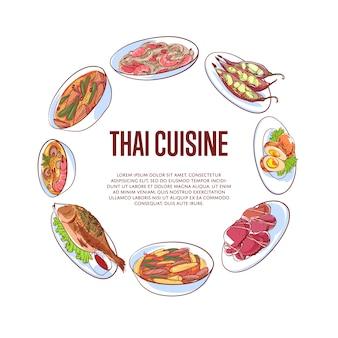 Thailändische küchefahne mit asiatischen tellern