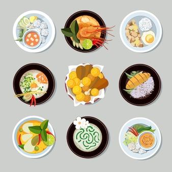Thailändische lebensmittelikonen eingestellt. garnelen und traditionelles restaurant, kochen und menü, vektorillustration
