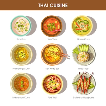 Thailändische lebensmittelküche-vektorikonen für restaurantmenü