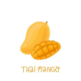 Thailändische mango ganze frucht und in scheiben geschnittene hälfte