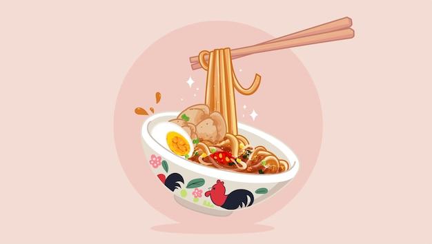 Thailändische schweinenudeln mit ei und fleischbällchen im thailändischen stil. paar essstäbchen cartoon-kunst-illustration