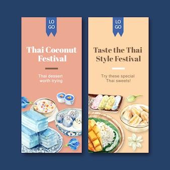 Thailändische süße fahne mit pudding, klebriger reis, mangoaquarellillustration.