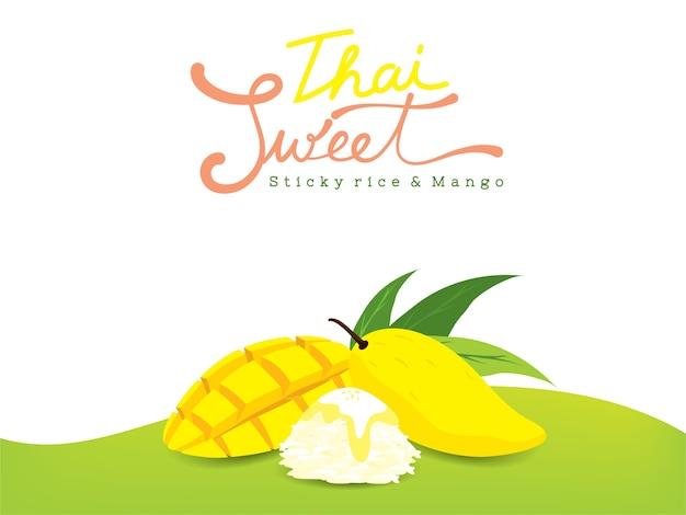 Thailändische süße mangos und klebriger reis