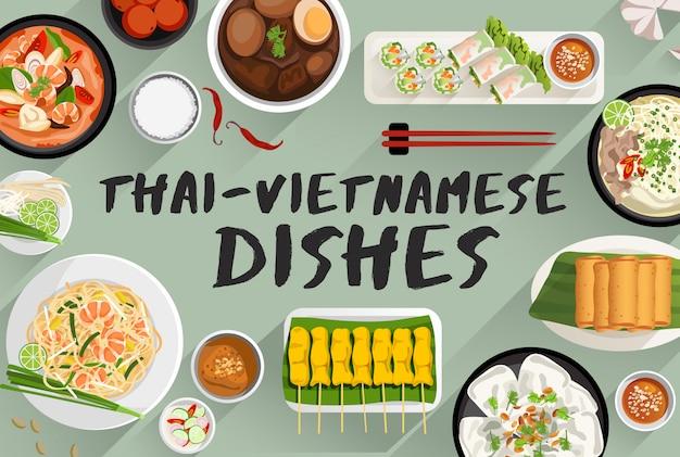 Thailändische - vietnamesische lebensmittel-lebensmittel-illustration in der draufsicht-vektorillustration