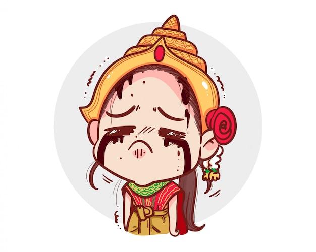 Thailändischer geist im traditionellen kleid, der weint und traurig auf weiß mit gruseligem halloween-konzept weint.
