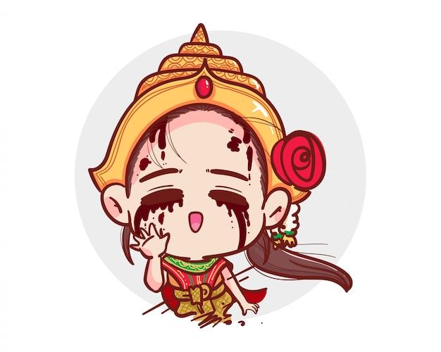 Thailändischer geist in der traditionellen kleidungsshow sagen hallo geste und gruß oder hallo auf weiß