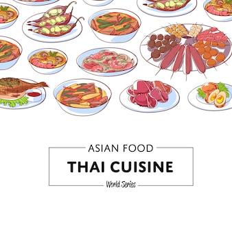 Thailändischer küchehintergrund mit asiatischen tellern