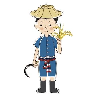 Thailändischer landwirt mit reispflanze