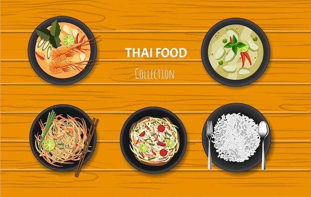 Thailändischer lebensmittelteller eingestellt auf orange