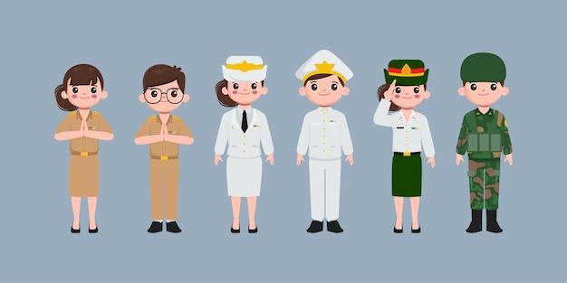Thailändischer lehrer, luftwaffe, soldat und einheitlicher charakter der regierung. menschen in regierungsberufscharakter.