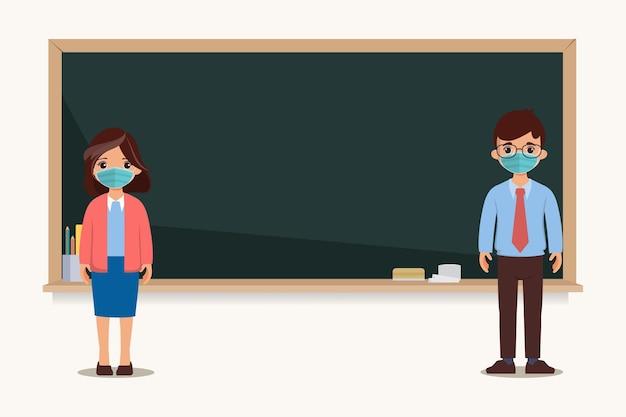 Thailändischer schüler und lehrer zurück zur schule mit neuem normalen konzept Premium Vektoren