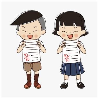 Thailändischer student junge und mädchen, die perfekte testergebnisse mit voller punktzahl zeigen. kinder glücklich bekam volle punktzahl in der prüfung.